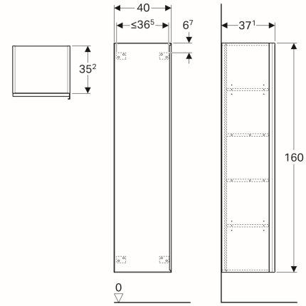 Dulap inalt Geberit iCon, 40x37.1x160cm, usa sticla taupe, corp stejar bej