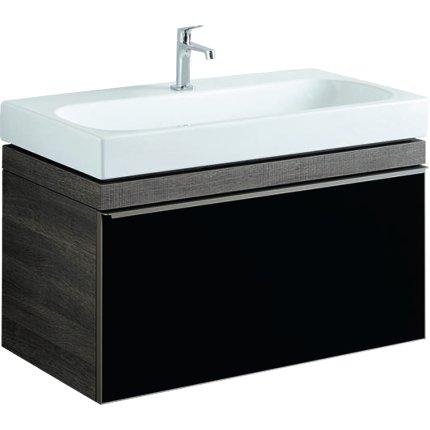 Dulap baza Geberit Citterio 88.4cm cu un sertar sticla neagra, corp stejar maro gri
