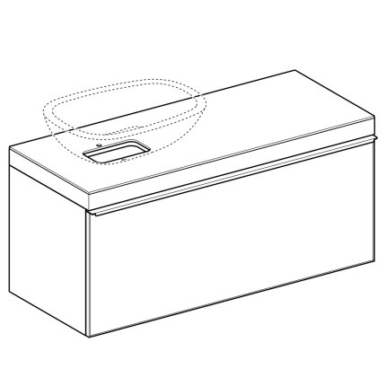 Dulap baza Geberit Citterio 118.4cm pentru lavoar tip bol, sertar sticla taupe, corp stejar bej