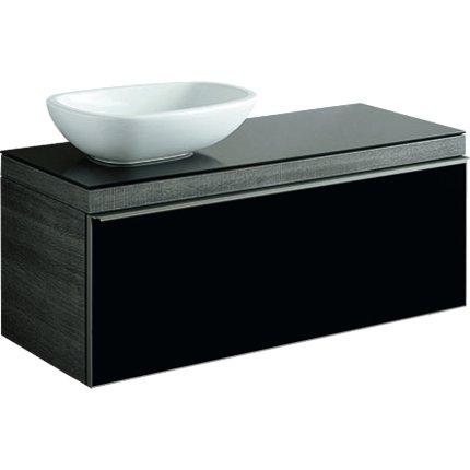 Dulap baza Geberit Citterio 118.4cm pentru lavoar tip bol, sertar sticla neagra, corp stejar maro gri
