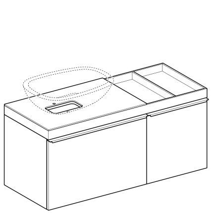 Dulap baza Geberit Citterio 118.4cm pentru lavoar tip bol, blat dreapta si doua sertare sticla neagra corp stejar maro gri