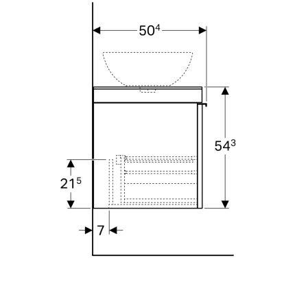 Dulap baza Geberit Citterio 118.4cm pentru lavoar tip bol, blat stanga si doua sertare sticla taupe, corp stejar bej