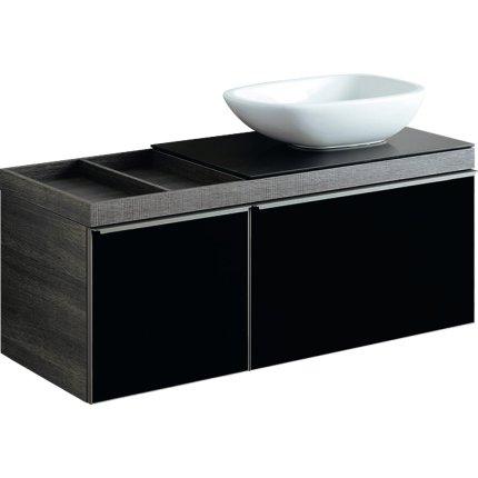 Dulap baza Geberit Citterio 118.4cm pentru lavoar tip bol, blat stanga si doua sertare sticla neagra corp stejar maro gri