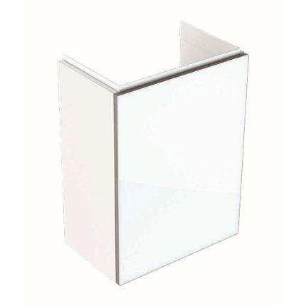 Dulap baza Geberit Acanto 39.5x24.5cm cu o usa sticla alba, corp alb lucios
