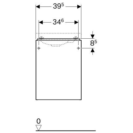 Dulap baza Geberit Acanto 39.5x24.5cm cu o usa sticla gri nisip, corp gri nisip mat