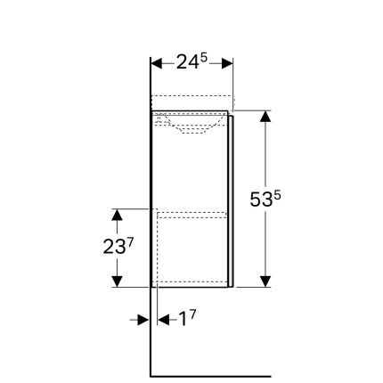 Dulap baza Geberit Acanto 39.5x24.5cm cu o usa sticla negru lava, corp negru lava mat