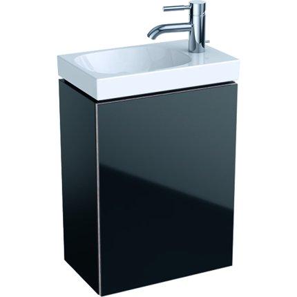 Dulap baza Geberit Acanto 39.5x24.5cm cu o usa sticla neagra, corp negru mat