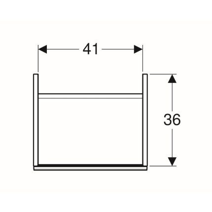 Dulap baza Geberit Acanto 44.5x37.5cm cu o usa sticla negru lava, corp negru lava mat