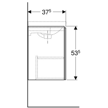 Dulap baza Geberit Acanto 44.5x37.5cm cu o usa sticla neagra, corp negru mat