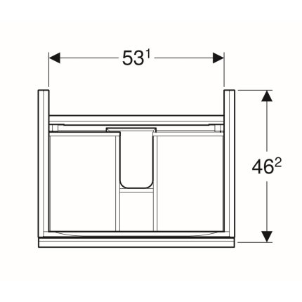 Dulap baza Geberit Acanto 59.5x47.5cm cu un sertar sticla negru, corp negru mat