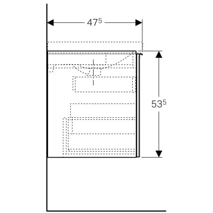 Dulap baza Geberit Acanto 59.5x47.5cm cu un sertar sticla gri nisip, corp gri nisip mat