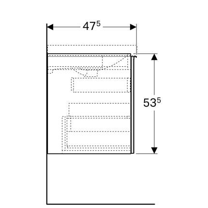 Dulap baza Geberit Acanto 64x47.5cm cu un sertar sticla gri nisip, corp gri nisip mat