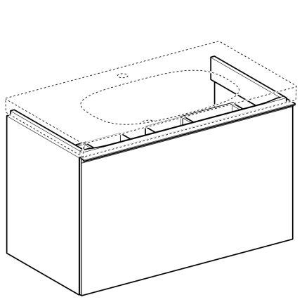 Dulap baza Geberit Acanto 89x47.5cm cu un sertar sticla gri nisip, corp gri nisip mat