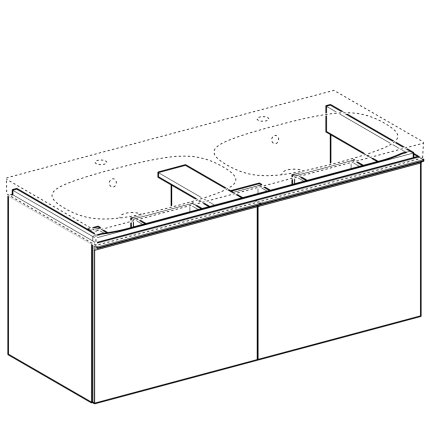 Dulap baza Geberit Acanto 119x47.6cm, cu doua sertare sticla alba, corp alb lucios