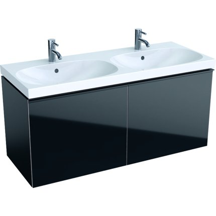 Dulap baza Geberit Acanto 119x47.6cm, cu doua sertare sticla negru, corp negru mat