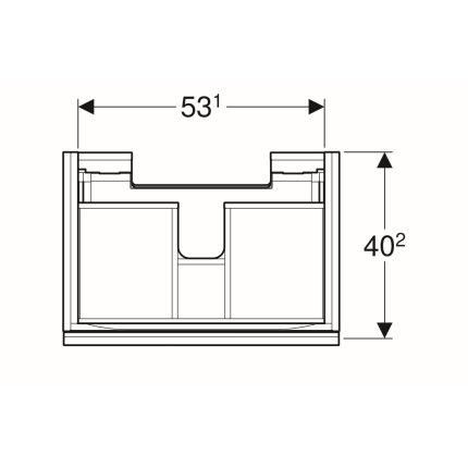 Dulap baza Geberit Acanto 59.5x41.6cm cu un sertar sticla negru lava, corp negru lava mat