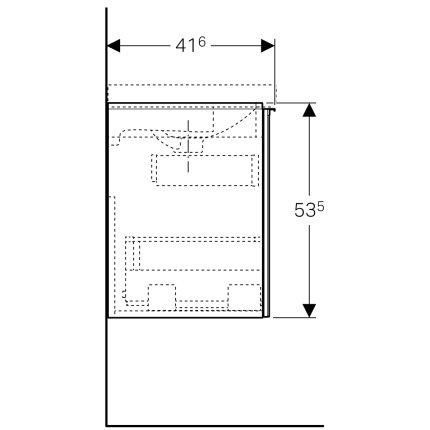 Dulap baza Geberit Acanto 59.5x41.6cm cu un sertar sticla gri nisip, corp gri nisip mat