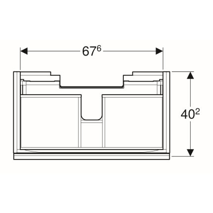 Dulap baza Geberit Acanto 74x41.6cm cu un sertar sticla negru, corp negru mat
