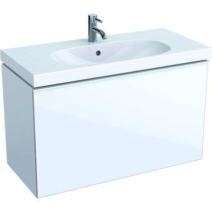 Dulap baza Geberit Acanto 89x41.6cm cu un sertar sticla alba, corp alb lucios