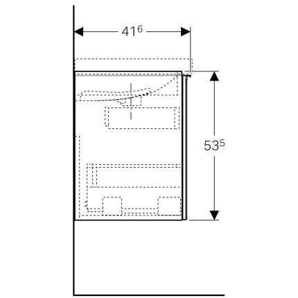 Dulap baza Geberit Acanto 89x41.6cm cu un sertar sticla gri nisip, corp gri nisip mat