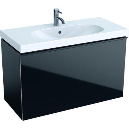 Dulap baza Geberit Acanto 89x41.6cm cu un sertar sticla negru, corp negru mat