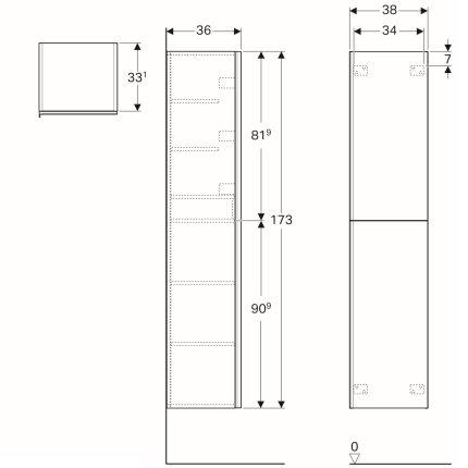 Dulap inalt Geberit Acanto 38x36x173cm, cu doua usi sticla alba, corp alb lucios