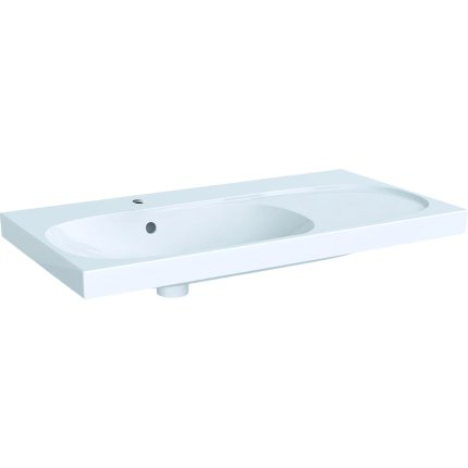 Lavoar asimetric Geberit Acanto 90x48.2cm, cu raft dreapta, alb