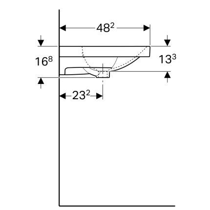 Lavoar asimetric Geberit Acanto 90x48.2cm, cu raft dreapta, fara orificiu baterie, alb