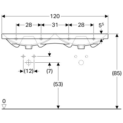 Lavoar dublu Geberit Acanto 120x48.2cm, fara orificii baterie, montare pe mobilier, alb