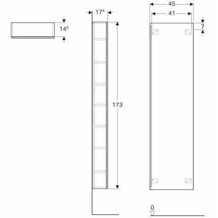 Dulap inalt Geberit Acanto 45x17.34x173cm, cu o usa sticla alba, corp alb lucios