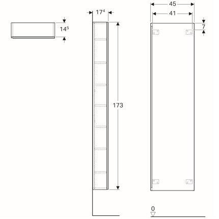 Dulap inalt Geberit Acanto 45x17.34x173cm, cu o usa sticla negru, corp negru mat