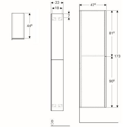 Dulap inalt Geberit Acanto 22x47.6x173cm, cu doua sertare sticla negru, corp negru mat