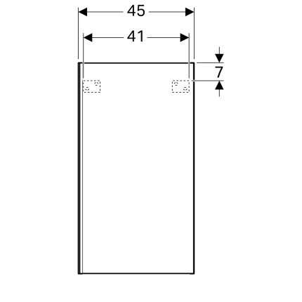 Dulap suspendat Geberit Acanto 45x17.4x82cm, cu o usa sticla alba, corp alb lucios