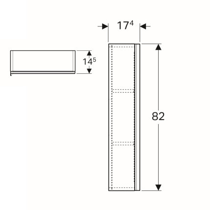 Dulap suspendat Geberit Acanto 45x17.4x82cm, cu o usa sticla gri nisip, corp gri nisip mat
