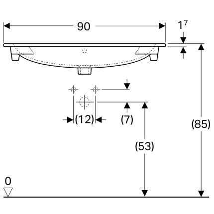 Lavoar Geberit Acanto 90x48cm, fara orificiu baterie, montare pe mobilier, alb