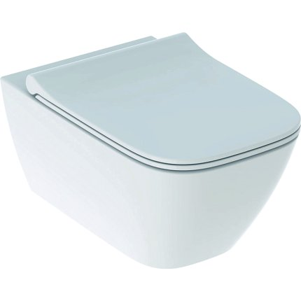 Set vas wc suspendat Geberit Smyle Square Rimfree si capac inchidere lenta tip sandwich