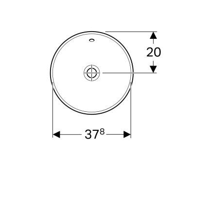 Lavoar rotund Geberit Variform 40cm, fara orificiu baterie, montare in blat, alb