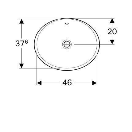 Lavoar oval Geberit VariForm 50x40cm, fara orificiu baterie, montare in blat, alb