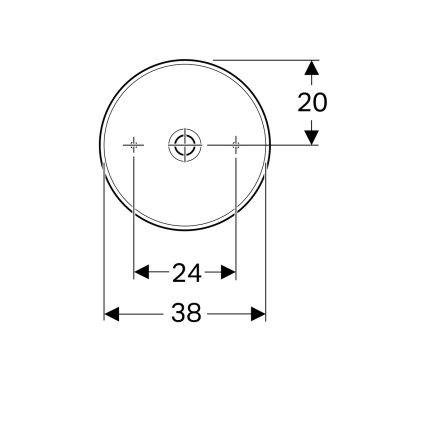 Lavoar rotund tip bol Geberit VariForm 40cm, fara orificiu baterie, fara preaplin, alb