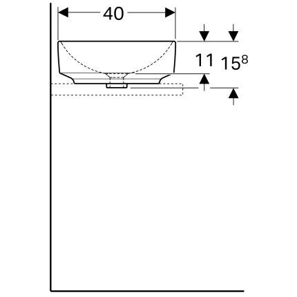 Lavoar oval tip bol Geberit VariForm 55x40cm, fara orificiu baterie, fara preaplin, alb