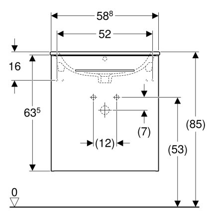 Set mobilier Geberit Selnova Square, lavoar 60cm cu margine ingusta si dulap cu o usa,  alb lucios