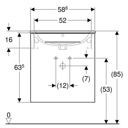 Set mobilier Geberit Selnova Square, lavoar 60cm cu margine ingusta si dulap cu o usa,  nuc american