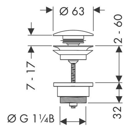 Ventil lavoar Hansgrohe Push-Open DN32, negru mat