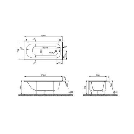 Cada rectangulara Vitra Optima 150 x 70cm