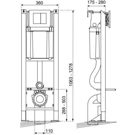 Set rezervor incastrat Wirquin Chrono cu cadru metalic sistem de fixare si clapeta Essentiel crom