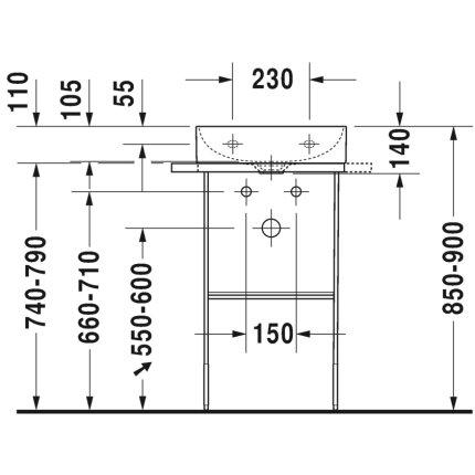 Consola metalica pe pardoseala pentru lavoar Duravit DuraSquare 516x333mm, cu port-prosop reversibil, fara raft, crom