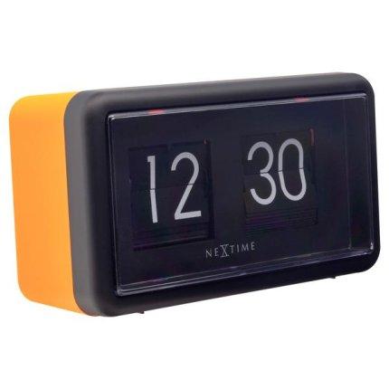 Ceas de masa NeXtime Flip 18x10x7cm, portocaliu-negru