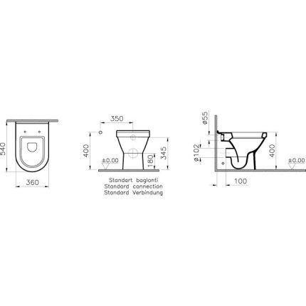Vas WC Vitra S50 54cm back-to-wall, pentru rezervor ingropat