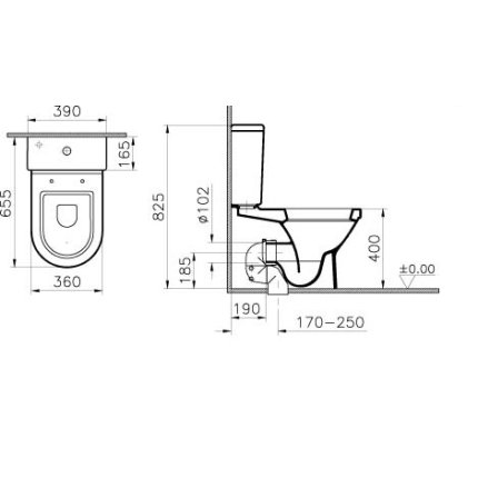 Rezervor WC Vitra S50 alimentare laterala, pentru Vitra S50 65cm back-to wall