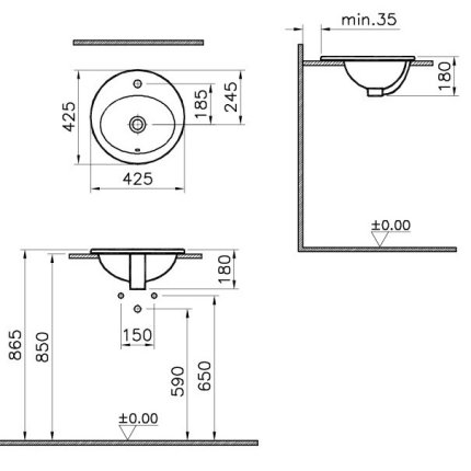 Lavoar oval Vitra S20 montare in blat, 43 cm